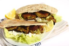 Falafel pitta sandwich Royalty Free Stock Photo