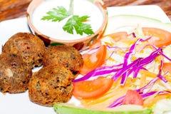 Falafel plate with vegetables, vegetarian food Stock Image