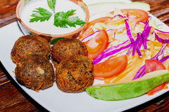 Falafel plate with vegetables, vegetarian food Stock Photos