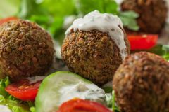 Falafel on salad leaves Stock Images