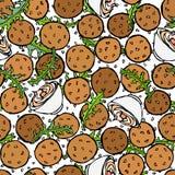 Falafel, sementes de sésamo, rúcula Herb Leaves, fundo infinito sem emenda do molho Israel Vegetarian Healthy Fast Food árabe jew ilustração stock