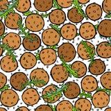 Falafel, sementes de sésamo, rúcula Herb Leaves Seamless Endless Background Israel Vegetarian Healthy Fast Food árabe Rua judaica ilustração royalty free