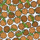 Falafel, semillas de sésamo, Arugula Herb Leaves Seamless Endless Background Israel Vegetarian Healthy Fast Food árabe Calle judí libre illustration