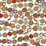 Falafel senza fine senza cuciture del modello, verdure pomodoro, peperoncino, cipolla, zucchini su uno spiedo BBQ della griglia a Immagine Stock Libera da Diritti