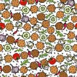 Falafel senza fine senza cuciture del modello, verdure pomodoro, peperoncino, cipolla, zucchini sullo spiedo, semi di sesamo BBQ  Immagini Stock