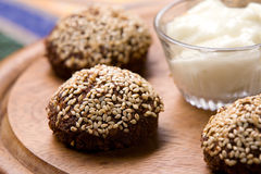 Falafel with sesame. Fried falafel covered with sesame Stock Photo