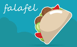 Falafel stuffed pita with vegetables. Vector illustrations Stock Images