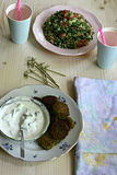 Falafel and tabbouleh Royalty Free Stock Photography
