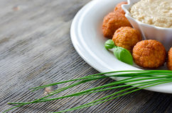 Falafel and tahina dip. Falafels on a plate with tahini sauce selective focus copy space Royalty Free Stock Images