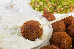 Falafel with Tzatziki and Tabbouleh Stock Photography