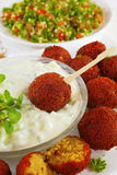 Falafel with Tzatziki and Tabbouleh Royalty Free Stock Images