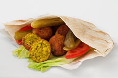 Falafel with vegetables in pita bread Stock Photo
