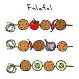 Falafel, vegetais tomate, pimenta, cebola, abobrinha em um espeto BBQ da grade Israel Vegetarian Healthy Fast Food árabe jew ilustração stock