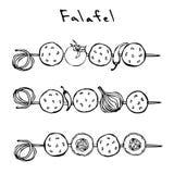 Falafel, vegetais tomate, pimenta, cebola, abobrinha em um espeto BBQ da grade Israel Vegetarian Healthy Fast Food árabe jew ilustração do vetor