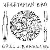 Falafel vegetarischer BBQ-Grill, Gemüse, Gabel, Zangen Nahöstliche Küche Arabischer Israel Vegetarian Healthy Fast Food jüdisch lizenzfreie abbildung