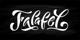 Falafel word. Hand drawn text logo. Vector illustration for falafel street food market. On black background. Graphic print design for banner, tee, t shirt royalty free illustration
