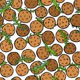 Falafel y Arugula Herb Leaves Seamless Endless Background Cocina de Oriente Medio Israel Vegetarian Healthy Fast Food árabe J libre illustration