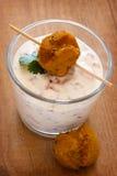 Falafel and Yogurt Royalty Free Stock Photography