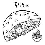 Falafelpitabröd eller köttbullesallad i sås för fick- bröd och majonnäs Arabiska Israel Healthy Fast Food Bakery judiskt royaltyfri illustrationer