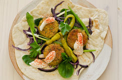 Falafels with flatbread and yogurt Stock Images