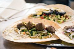 Falafels on lavash Royalty Free Stock Images