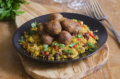 Falafels With Couscous Royalty Free Stock Photography