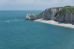 Falaise d'Amont cliff of Etretat, Normandy, France Royalty Free Stock Photos