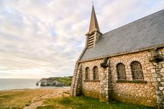 Falaise d'Amont Etretat City Normandy France Europe. Photo Picture of Falaise d'Amont Etretat City Normandy France Europe Stock Photos