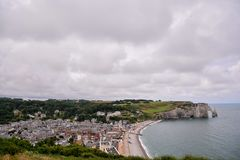 Falaise d'Amont Etretat City Normandy France Europe. Photo Picture of Falaise d'Amont Etretat City Normandy France Europe Stock Image