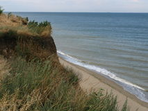 Falaise d'argile à la plage de sable de mer Photographie stock