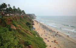 Falaise de Varkala sur le bord de la mer, Kerala, Inde Images libres de droits