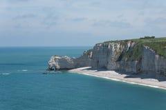 Falaise Etretat,诺曼底,法国d'Amont峭壁  免版税库存照片