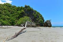 Falaise le long de la plage chez Krabi Images libres de droits