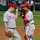 Falaise Lee et Carlos Ruiz Philadelphie Phillies Image libre de droits
