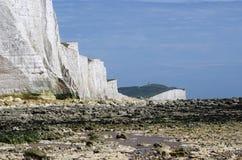 Falaises blanches de l'Angleterre du sud Photos stock