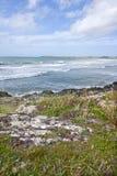 Falaises côtières avec la mer d'Irlande Photographie stock