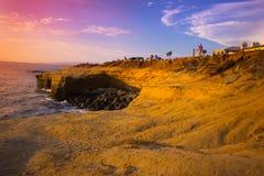 Falaises CA de coucher du soleil Photographie stock libre de droits