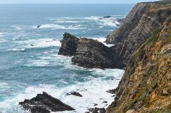 Falaises chez Costa Vicentina Natural Park, Portugal du sud-ouest Photo stock
