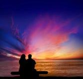 Falaises de coucher du soleil Romance Images stock