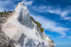 Falaises de craie de klint de Moens au Danemark photos stock