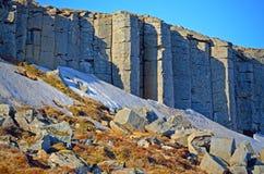 Falaises de Gerðuberg, formations de roche hexagonales en Islande photos libres de droits