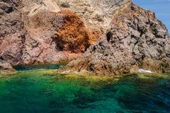 Falaises et roches de Lipari, Italie Images libres de droits