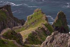 Falaises herbacées et raides au-dessus de la mer Image libre de droits