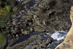 Falaises pétrifiées de sable à la baie du roucoulement, Orégon Image stock