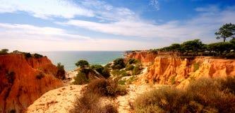 Falaises, pins et océan oranges (Algarve, Portugal) Photographie stock