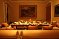 Falaknuma Palace dining room, Hyderabad Stock Photo