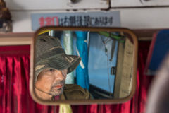 FALAM,缅甸- 2016年2月10日:微笑在的季风季节的开始地方男孩最近打开了 免版税库存图片