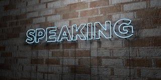 FALAR - Sinal de néon de incandescência na parede da alvenaria - 3D rendeu a ilustração conservada em estoque livre dos direitos ilustração royalty free