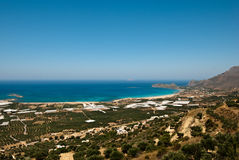 Falasarna beach. Over view of the Falasarna beach on Crete Royalty Free Stock Photos