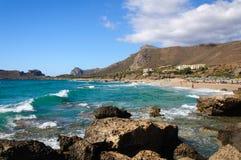 Falassarna, один из самых красивых пляжей Крита – награженного как самое лучшее в Европе Стоковое Изображение RF